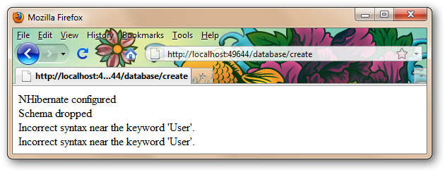 NHibernate configured Schema dropped Incorrect syntax near the keyword 'User'. Incorrect syntax near the keyword 'User'.
