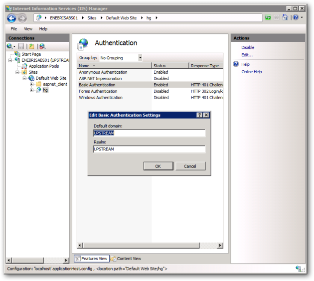 IIS Manager hg Authentication