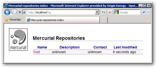 Mercurial Repositories with Test